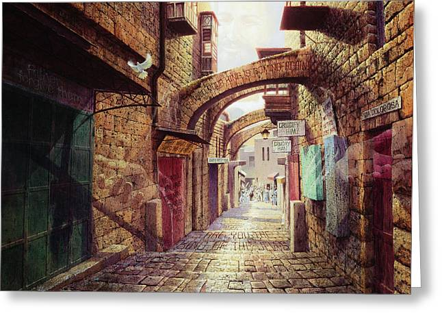 Biblical Art Greeting Cards - The Road to the Cross  Jerusalem Greeting Card by Graham Braddock
