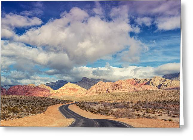Madre Greeting Cards - The Road to Turtlehead Peak Las Vegas Nevada Red Rock Canyon  Greeting Card by Silvio Ligutti