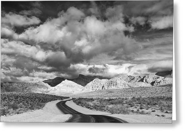 Madre Greeting Cards - The Road to Turtlehead Peak Las Vegas Strip Nevada Red Rock Canyon Mojave Desert Greeting Card by Silvio Ligutti