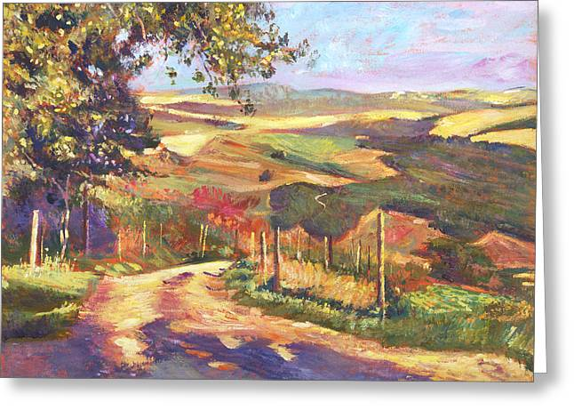 Impressionist Greeting Cards - The Road To Tuscany Greeting Card by David Lloyd Glover