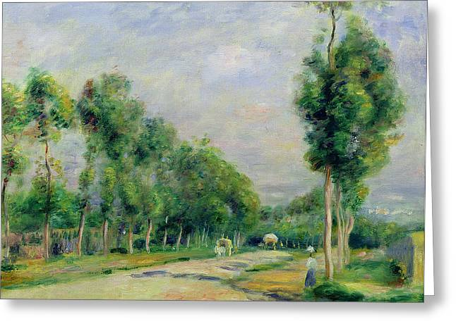 Tree Lines Paintings Greeting Cards - The Road to Versailles at Louveciennes Greeting Card by Pierre Auguste Renoir