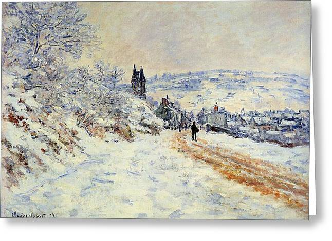 Snow Drifts Paintings Greeting Cards - The Road To Vetheuil Snow Effect Greeting Card by L Brown