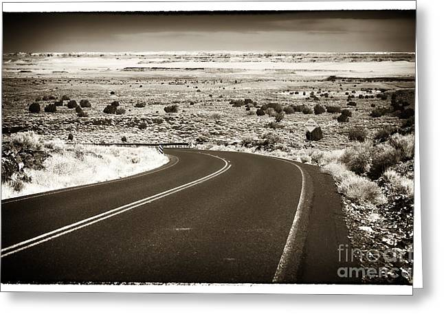 Pueblo People Greeting Cards - The Road to Wupatki Greeting Card by John Rizzuto