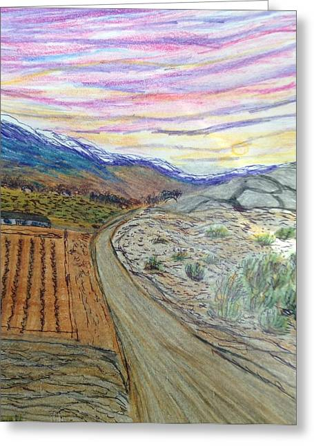 Winter Roads Drawings Greeting Cards - The Road to Yeshville  Greeting Card by Christine Degyansky