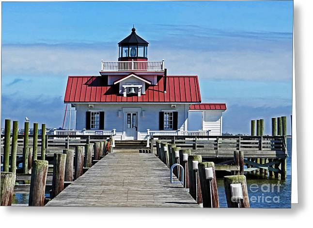 Shallowbag Bay Greeting Cards - The Roanoke Marshes lighthouse  Greeting Card by Dawn Gari