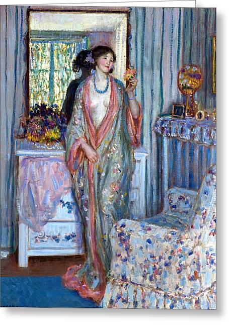 Blue Necklace Greeting Cards - The Robe Greeting Card by Carl Frieseke