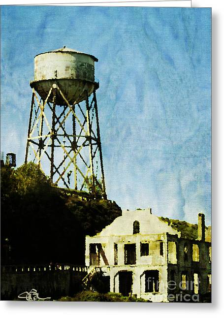 California Ocean Photography Paintings Greeting Cards - The Rock Alcatraz Island 1 of 4 Greeting Card by Jani Bryson