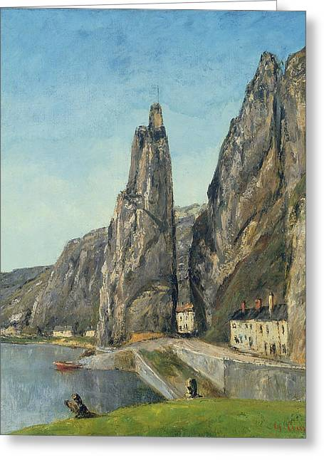 Rocks Greeting Cards - The Rock At Bayard, Dinant, Belgium Greeting Card by Gustave Courbet
