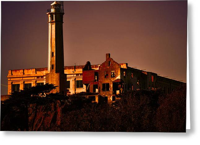 Alcatraz Greeting Cards - The Rock at Sunset Greeting Card by Joe Bledsoe
