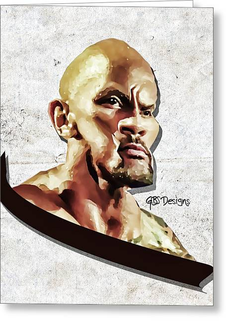 Brahma Bull Greeting Cards - The Rock Caricature by GBS Greeting Card by Anibal Diaz