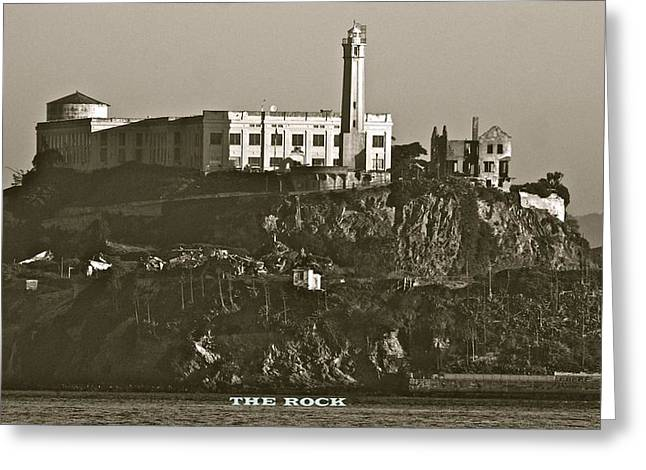 San Francisco Bay Pyrography Greeting Cards - The Rock Greeting Card by DUG Harpster