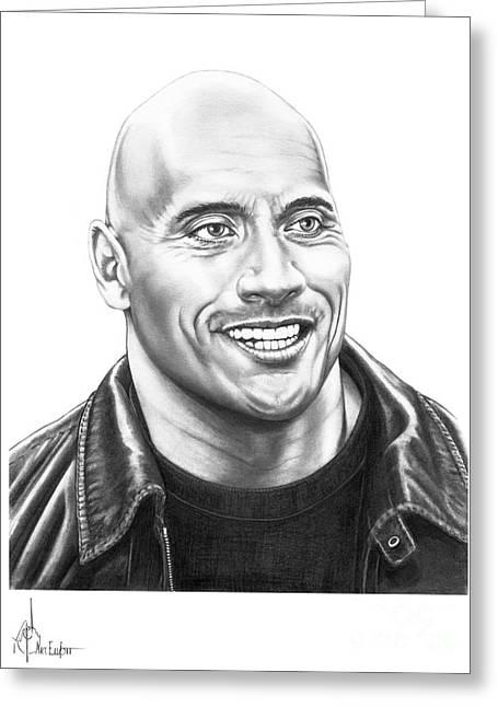 Rocks Drawings Greeting Cards - The Rock-Dwayne Johnson Greeting Card by Murphy Elliott