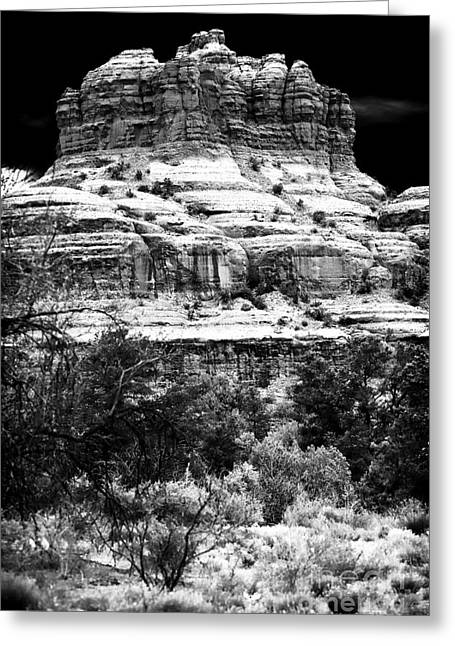 Coconino National Forest Greeting Cards - The Rock in the Valley Greeting Card by John Rizzuto