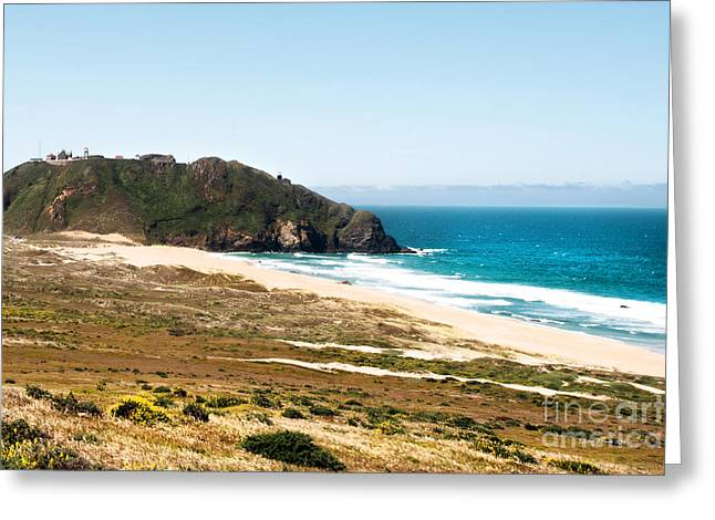 California Beaches Greeting Cards - The Rock of Piedras Blancas Lighthouse in San Simeon CA Greeting Card by Artist and Photographer Laura Wrede