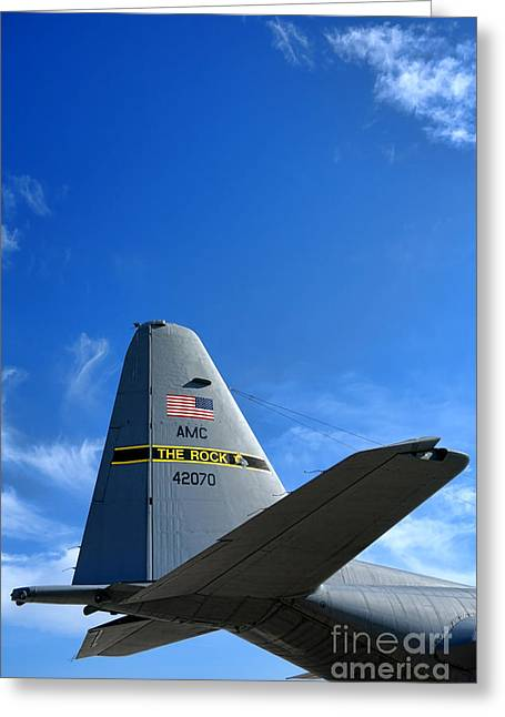 C-130 Greeting Cards - The Rock Greeting Card by Olivier Le Queinec