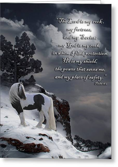 Gypsy Horse Greeting Cards - The Rock with verse Greeting Card by Terry Kirkland Cook