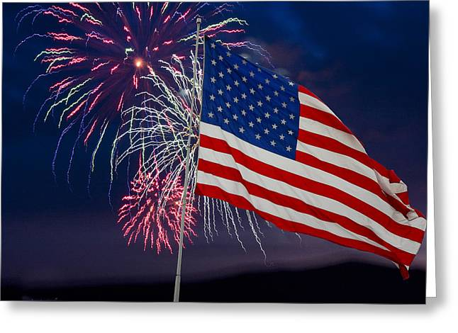 Independence Day Mixed Media Greeting Cards - The Rockets Red Glare Greeting Card by Richard Malin