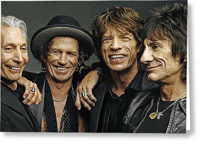Jagger Greeting Cards - The Rolling Stones Artwork 1 Greeting Card by Sheraz A