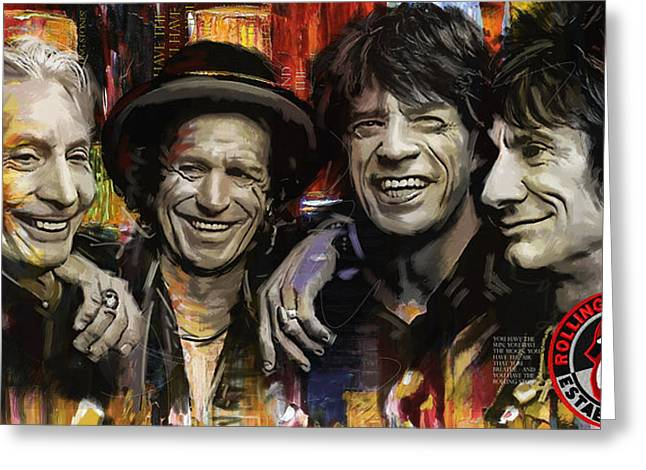 Jagger Greeting Cards - The Rolling Stones Greeting Card by Corporate Art Task Force