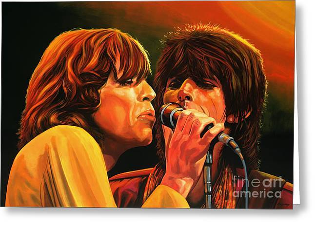 Ron Woods Greeting Cards - The Rolling Stones Greeting Card by Paul Meijering