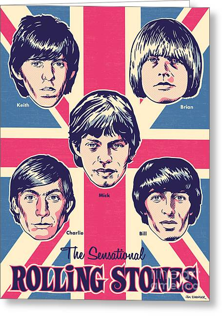 British Greeting Cards - The Rolling Stones Pop Art Greeting Card by Jim Zahniser