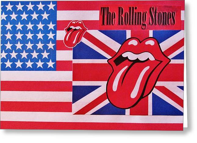 Mick Jagger And Keith Richards Greeting Cards - The Rolling Stones Red White And Blue Greeting Card by Donna Wilson