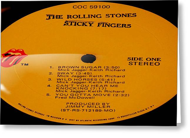 Knocking Digital Art Greeting Cards - The Rolling Stones Sticky Fingers Side 1 Greeting Card by Marcello Cicchini