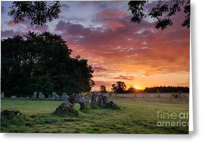 Bronze Age Greeting Cards - The Rollright Stones Sunrise Greeting Card by Tim Gainey