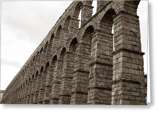 True Cross Greeting Cards - The Roman Aqueduct of Segovia Greeting Card by Lorraine Devon Wilke