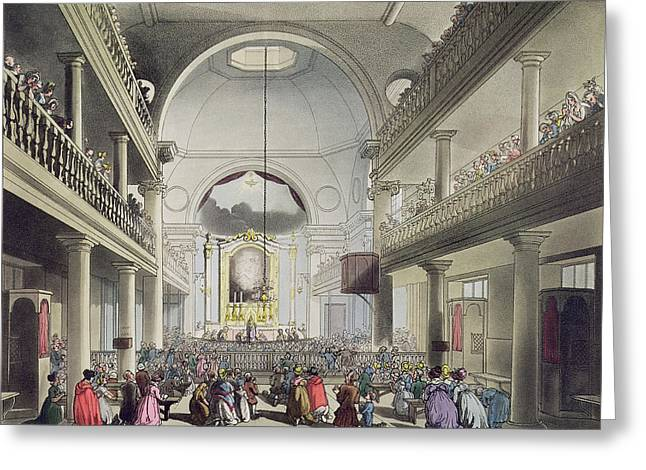 Knelt Drawings Greeting Cards - The Roman Catholic Chapel, Lincolns Inn Greeting Card by T. & Pugin, A.C. Rowlandson