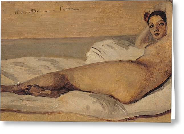 Corot Greeting Cards - The Roman Odalisque Greeting Card by Jean Baptiste Camille Corot