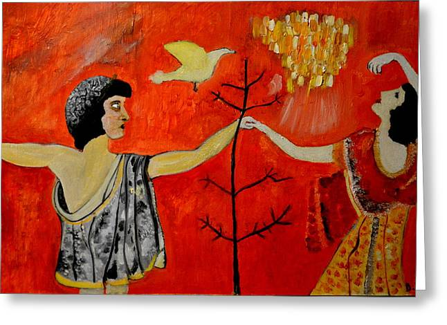 Music Of The Past Greeting Cards - The Roman painting Greeting Card by Daniele Fedi