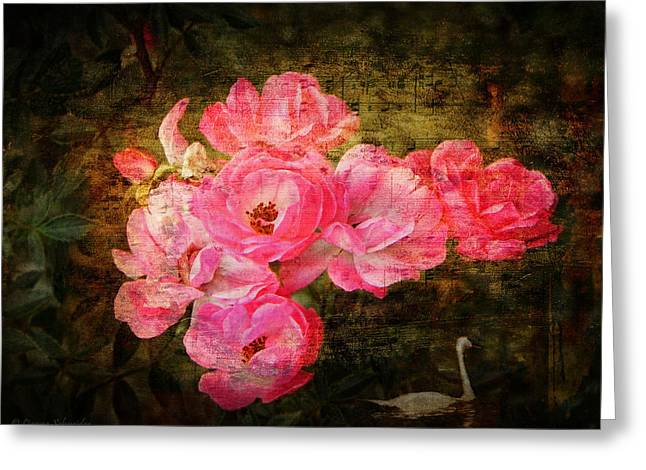 Swans... Greeting Cards - The Romance of Roses Greeting Card by Lianne Schneider