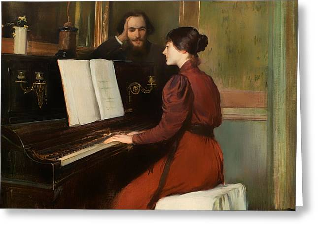Playing Musical Instruments Greeting Cards - The Romance Greeting Card by Santiago Rusinol