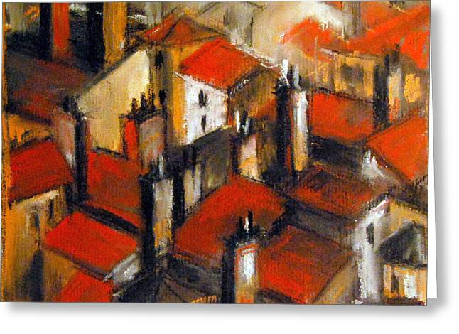 Red Buildings Pastels Greeting Cards - The Roofs Of Lyon Greeting Card by Mona Edulesco