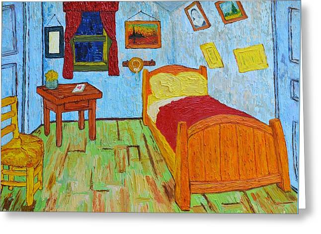 Van Gogh Style Greeting Cards - The Room of Vincent van Gogh interpretation Greeting Card by Patricia Awapara