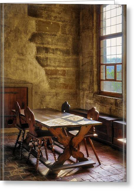 Table Greeting Cards - The room on the side Greeting Card by Joan Carroll