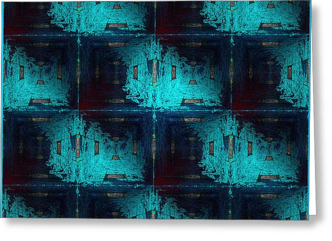The Vault Digital Greeting Cards - The Abstract Rooms in Blue Greeting Card by Gillian Owen