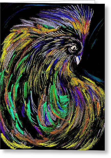 Rooster Pastels Greeting Cards - The Livid Rooster Greeting Card by Kah Wah Tan