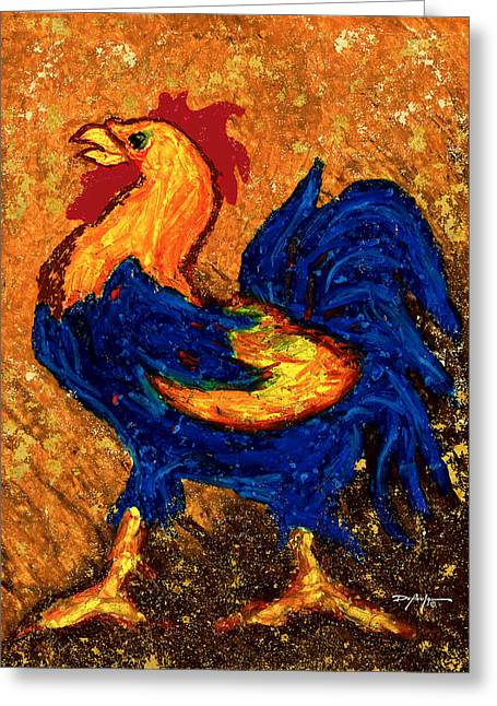 Rooster Pastels Greeting Cards - The Rooster Greeting Card by William Depaula