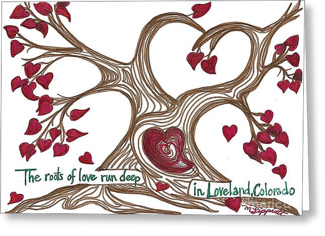 Tree Roots Drawings Greeting Cards - The Roots of Love Greeting Card by Minnie Lippiatt