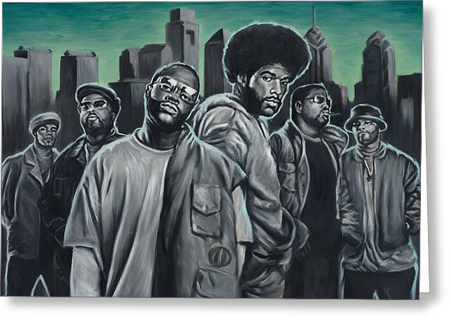 Questlove Greeting Cards - The Roots Greeting Card by Travis Knight