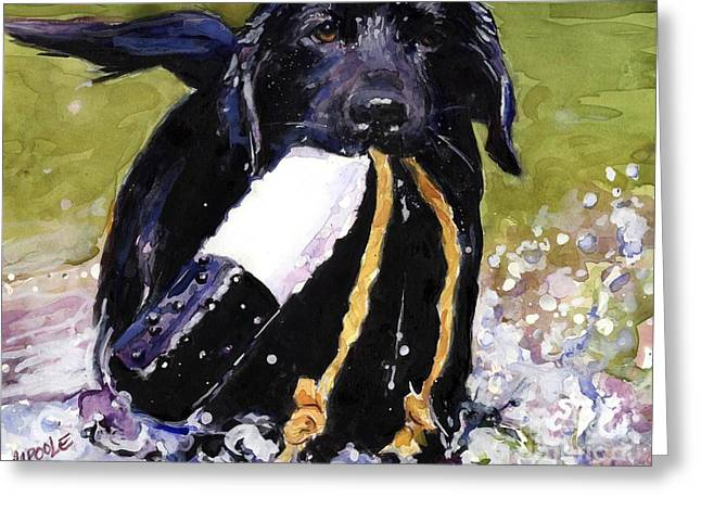 Black Lab Puppy Greeting Cards - The Ropes Greeting Card by Molly Poole