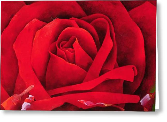 Red Abstracts Greeting Cards - The Rose, 1997 Oil On Canvas Greeting Card by Myung-Bo Sim