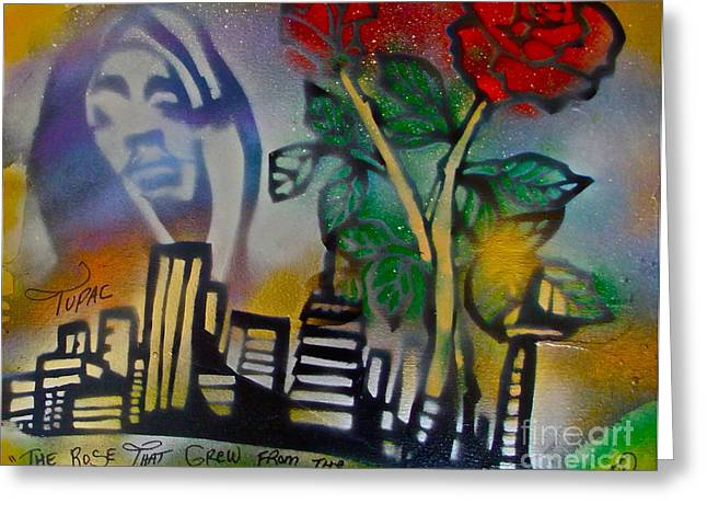 Free Speech Greeting Cards - The Rose From The Concrete gold Greeting Card by Tony B Conscious