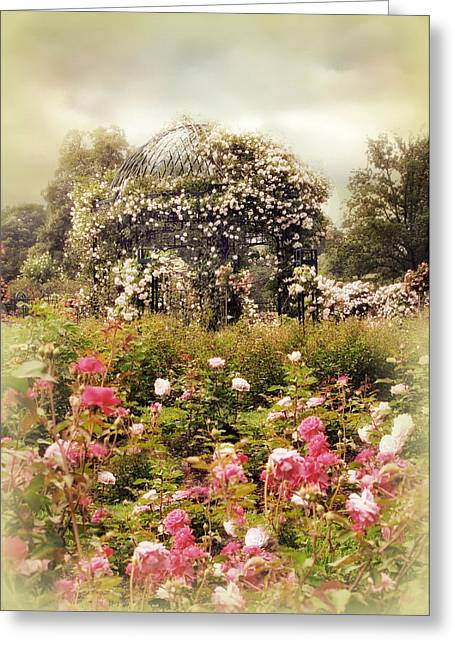 Trellis Greeting Cards - The Rose Gazebo Greeting Card by Jessica Jenney