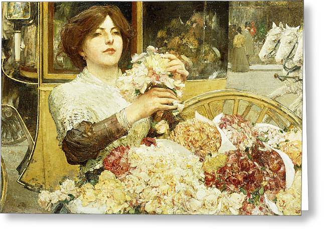 Childe Hassam Greeting Cards - The Rose Girl Greeting Card by Childe Hassam