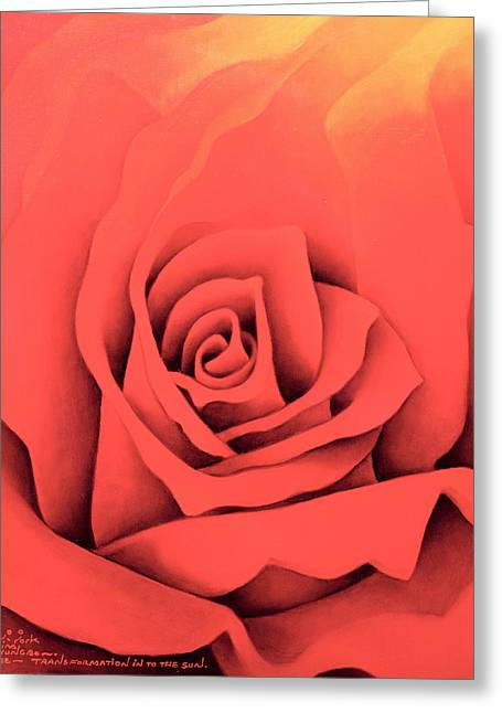 Red Petals Greeting Cards - The Rose In The Festival Of Light, 2000 Oil On Canvas Greeting Card by Myung-Bo Sim