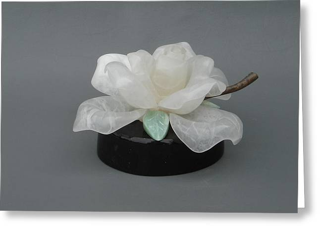 Soapstone Sculptures Greeting Cards - The Rose Greeting Card by Leslie Dycke