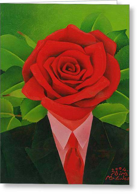 Magritte Greeting Cards - The Rose Man, 2004 Oil On Canvas Greeting Card by Myung-Bo Sim